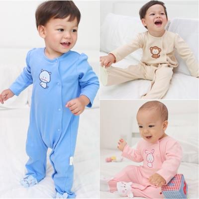 baby童衣 動物刺繡長袖包腳連身衣 70054