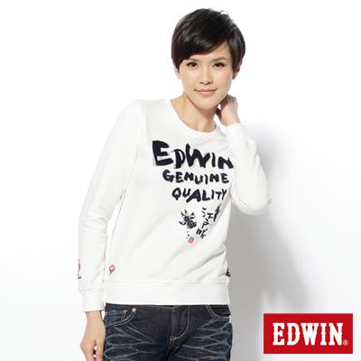 EDWIN-江戶勝限量-日系繡圖圓領長袖T恤-女款-米白