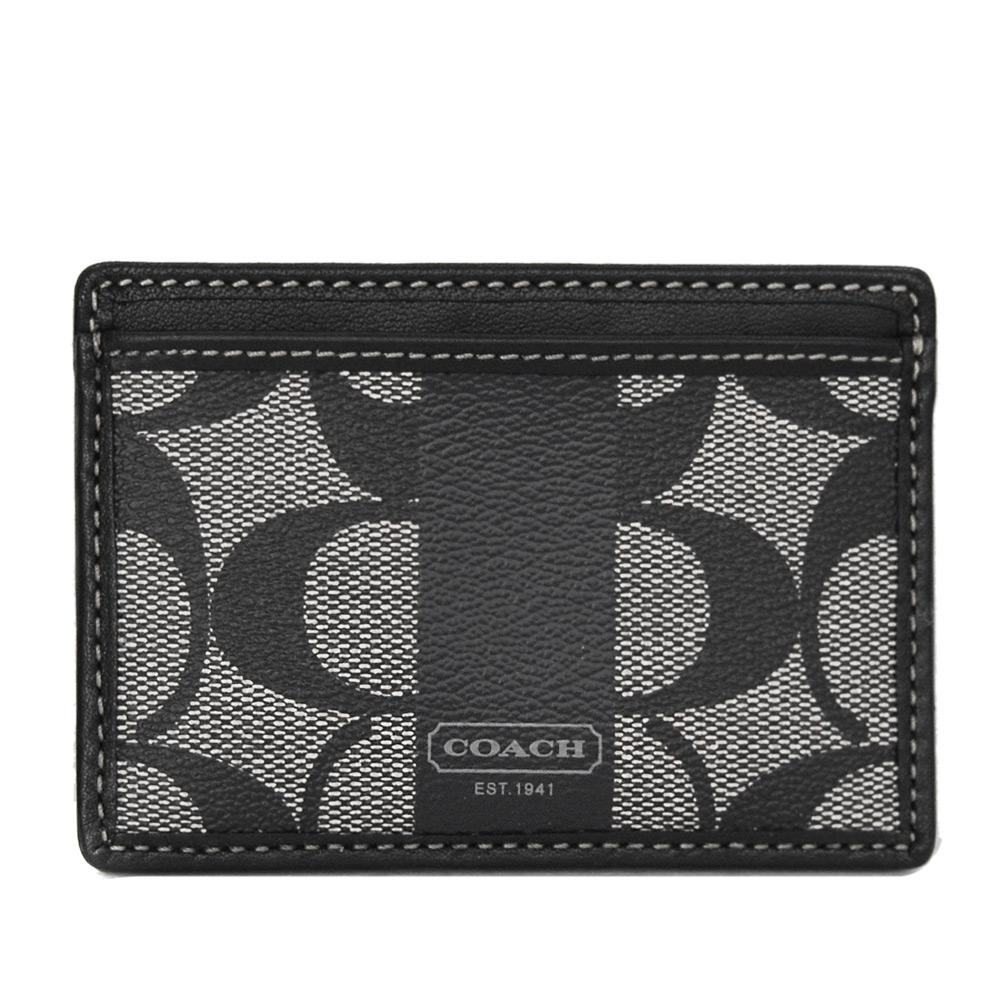 COACH灰黑C Logo真皮飾邊雙面票卡/名片夾