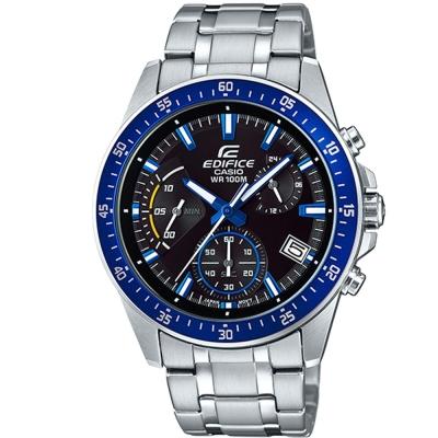 EDIFICE魅力釋放簡約時尚三針三眼指針錶(EFV-540D-1A2)藍框43.8mm