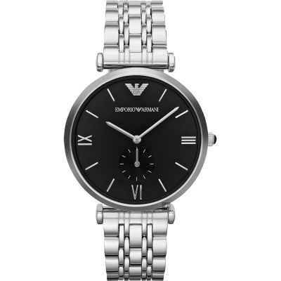 Emporio Armani Retro 時尚獨立小秒針腕錶-黑x銀/40mm
