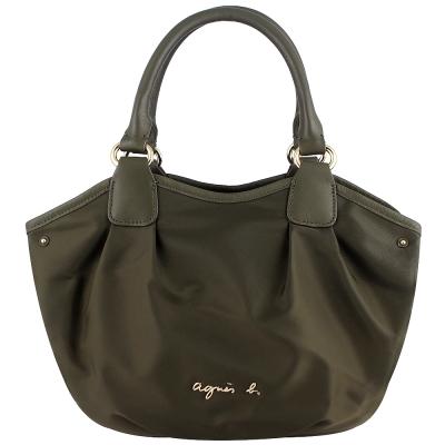 agnes b. voyage 金屬標誌皮飾邊綠色三層手提包(小)