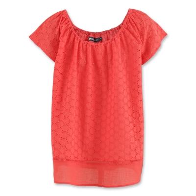 Hang Ten - 女裝 - 設計感寬領蕾絲襯衫 - 紅
