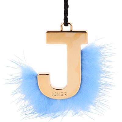 FENDI Abclick J 貂毛飾鑰匙圈/吊飾(天空藍)