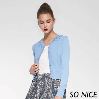 SO NICE珠飾短版針織外套