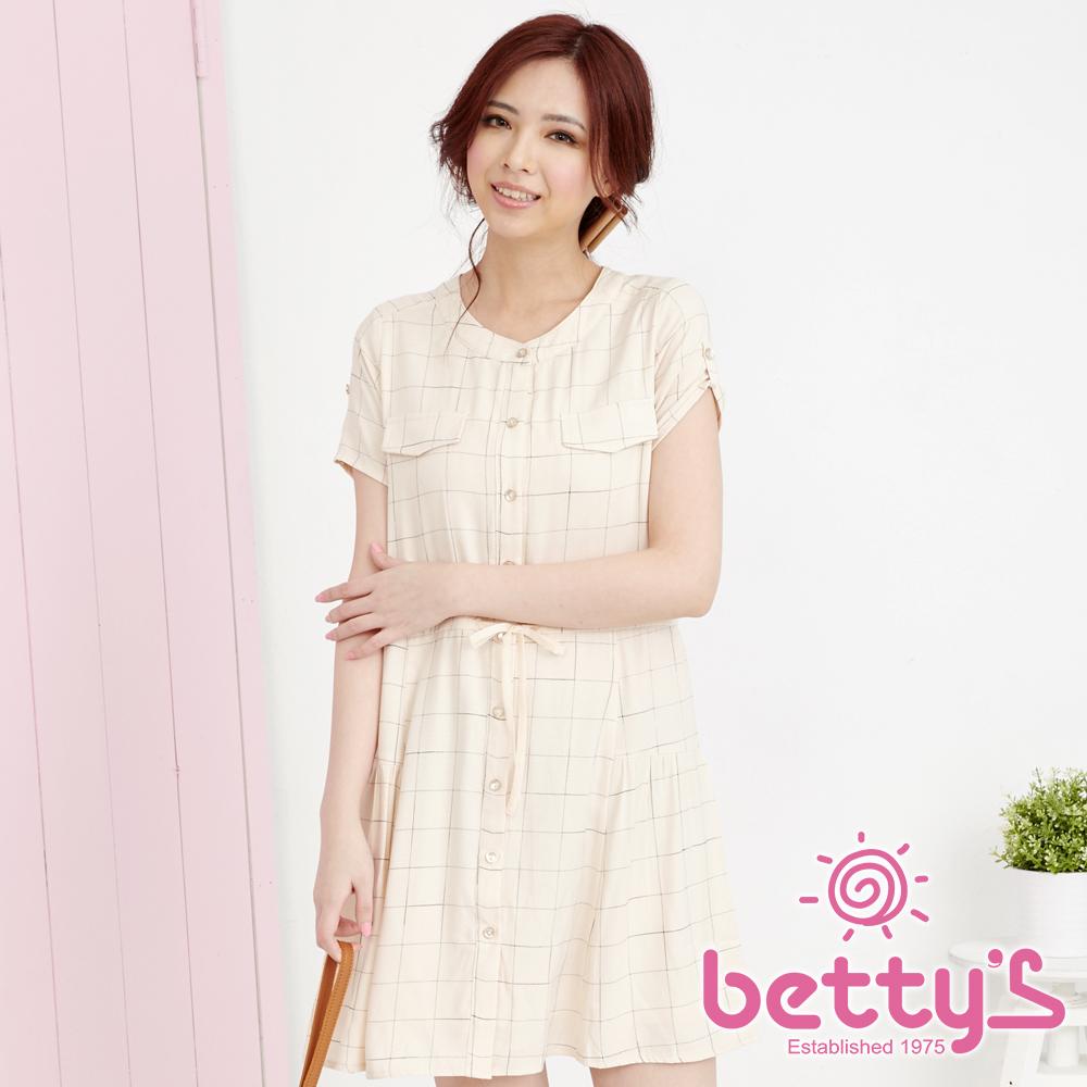 betty's貝蒂思 圓領清爽細格棉麻洋裝(淺桔)