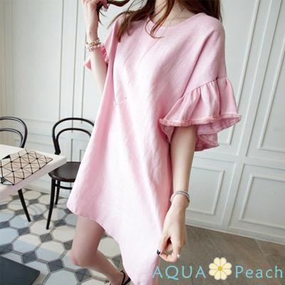 純色素面喇叭袖圓領棉麻洋裝 (共二色)-AQUA Peach