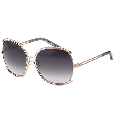 CHLOE太陽眼鏡 廣告款方框(金色+黑灰鏡片)CE 129 S- 744