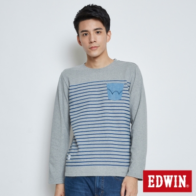 EDWIN 丹寧印條口袋長袖T恤-男-麻灰
