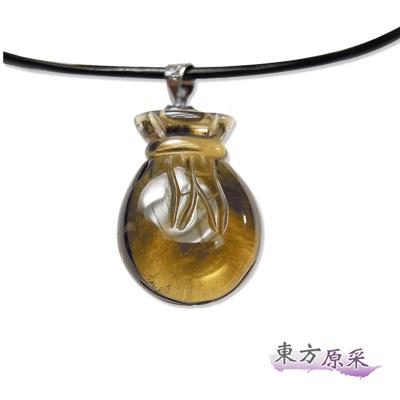 東方原采-招財檸檬黃水晶招財袋項鍊