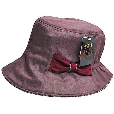 DAKS 抗UV科技纖維字母格紋滾邊蝴蝶結漁夫帽(酒紅色)