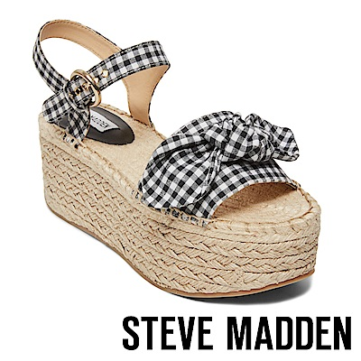 STEVE MADDEN-UNION 蝴蝶扭結麻編厚底涼鞋-黑白格