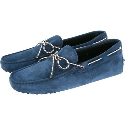 TOD'S Gommino Driving 麂皮綁帶豆豆休閒鞋(藍色)