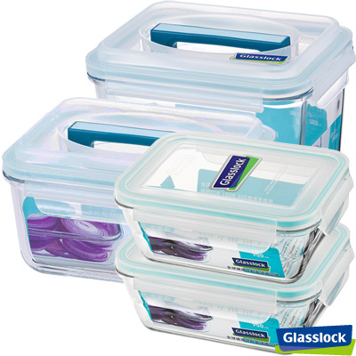 Glasslock強化玻璃微波保鮮盒 - 頂級新鮮4件組