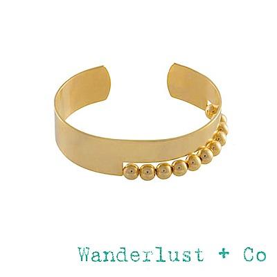 Wanderlust+Co 澳洲品牌 金色小寬版手環 立體圓球造型 金色素面手環 LOLA