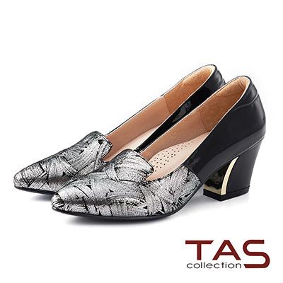 TAS 異材質雙色拼接尖頭粗跟鞋-銀箔黑
