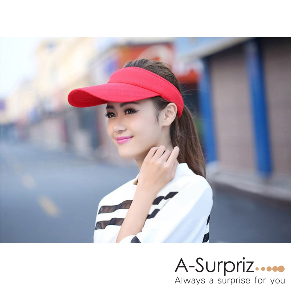 A-Surpriz 純色運動風空頂遮陽帽(紅)