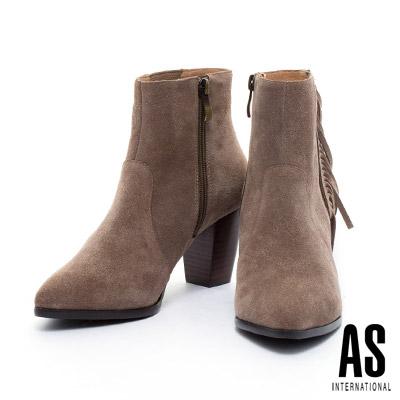 短靴-AS古銅拉鍊造型帥氣流蘇尖頭粗跟短靴-咖