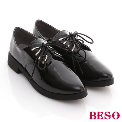 BESO-閃耀英倫-雅痞紳士風綁帶低跟牛津鞋-黑