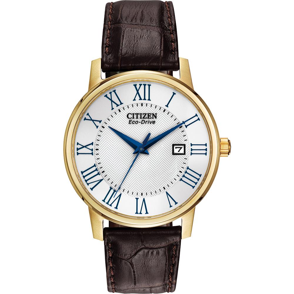 CITIZEN 羅馬光動能腕錶(BM6752-02A)-白x金框/40mm
