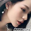 AnnaSofia 圓窗鏤葉貓眼石 耳針耳環(金系)