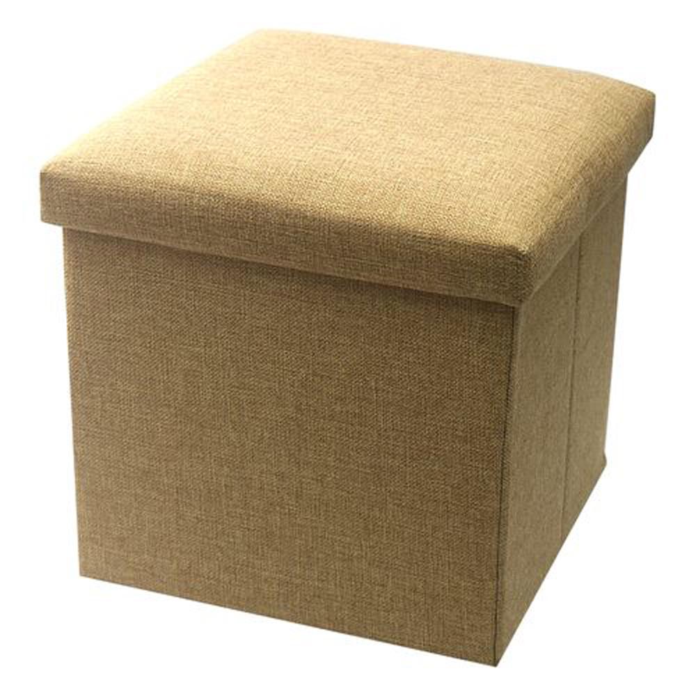 簡約麻布收納椅31x31x31cm(卡其)3入