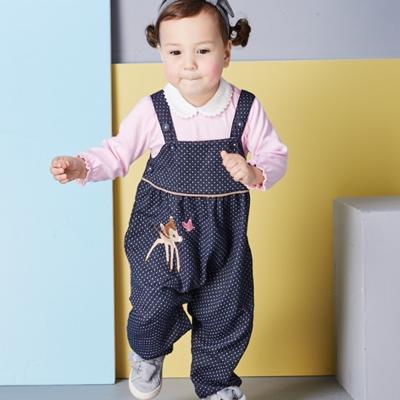 Disney baby 小鹿斑比系列甜心點點吊帶褲 深藍