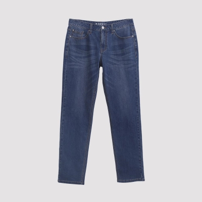 Hang Ten - 男裝 - 簡約刷色直筒牛仔褲 - 藍