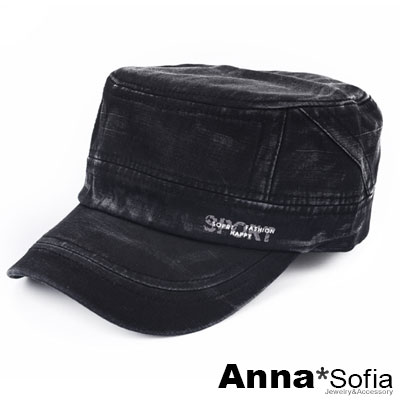 AnnaSofia 水洗暈染SPORT拓印 棉質棒球帽軍帽(黑系)