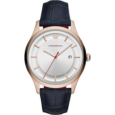 Emporio Armani 亞曼尼 時尚手錶-銀x藍色錶帶/43mm AR11131