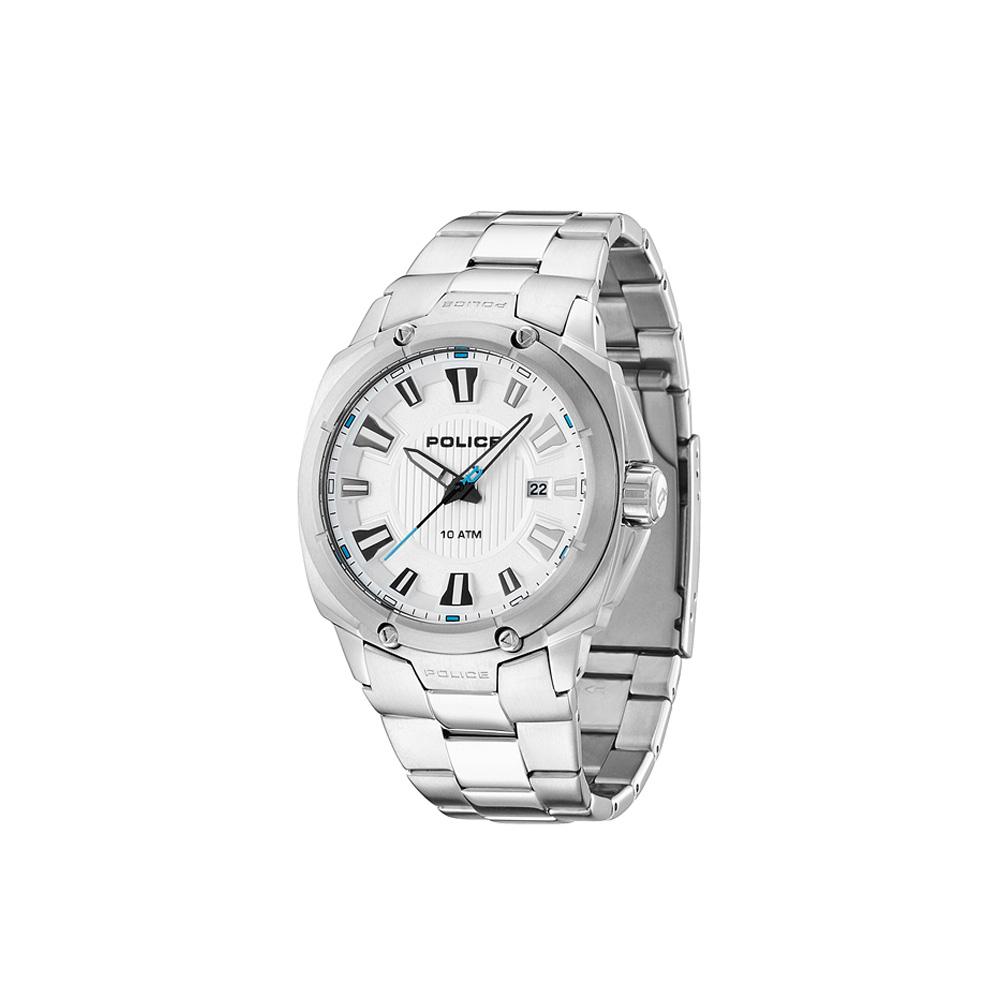 POLICE 強悍指標不鏽鋼時尚腕錶-白/44mm