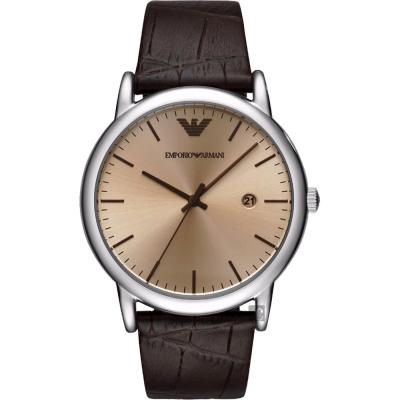 Emporio Armani Dress 亞曼尼20週年系列手錶-香檳x咖啡/43mm