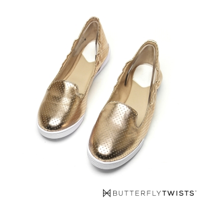 BUTTERFLY TWISTS-漆亮鞋面記憶軟墊平底鞋-玫瑰金