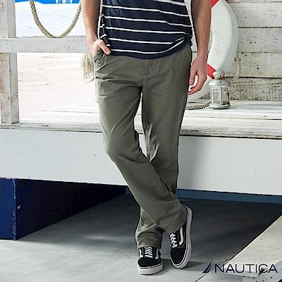 Nautica 經典款修身直筒長褲 -灰綠色