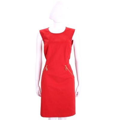 LOVE MOSCHINO 紅色雙口袋設計棉質無袖洋裝
