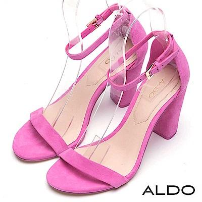 ALDO 真皮一字繫帶露趾粗高跟涼鞋~襯膚粉紅