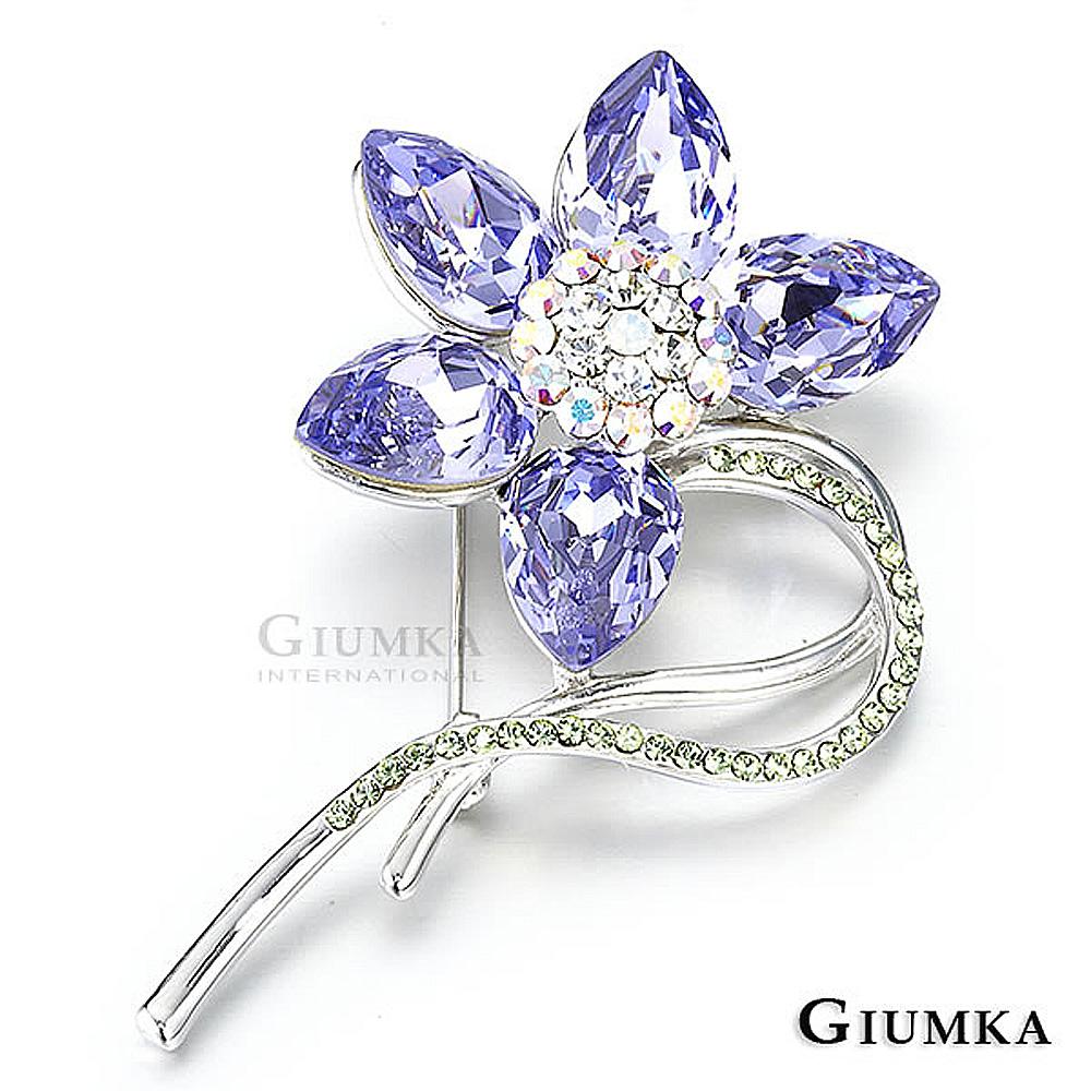 GIUMKA 山茶花紫水晶胸針別針-銀色
