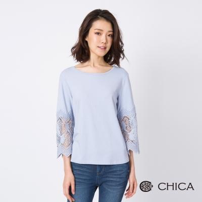 CHICA 花藝氣質鏤空刺繡七分袖設計上衣(3色)