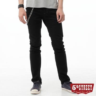 5th STREET 大尺碼窄直筒 基本原色休閒褲-男-黑色
