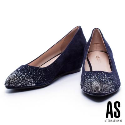 低跟鞋 AS 雙色漸層排鑽羊麂皮尖頭楔型低跟鞋-藍