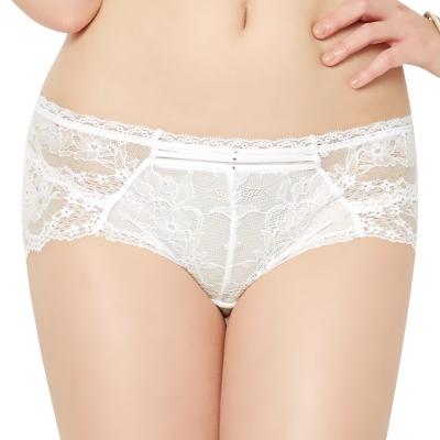 思薇爾 Bra Lette系列M-XL全蕾絲中低腰平口內褲(奶油色)
