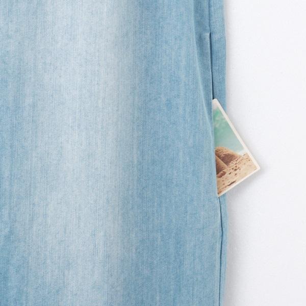 高含棉美背設計V領牛仔洋裝-OB嚴選