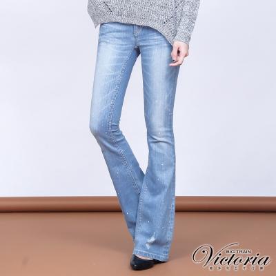 Victoria 低腰淺藍燙鑽繡花靴型褲-女-淺藍