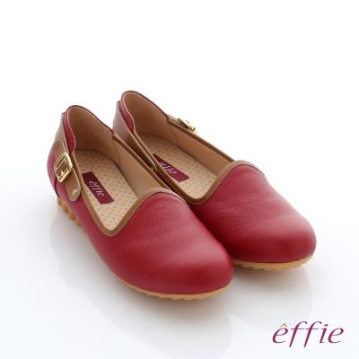 effie  彈力舒芙 真皮飾釦奈米休閒鞋 正紅色
