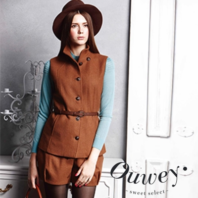 OUWEY歐薇-俏麗暖毛尼造型短褲-咖
