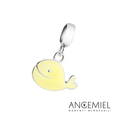 Angemiel安婕米串珠 925純銀吊飾 Dream童話系列 微笑鯨魚(黃)