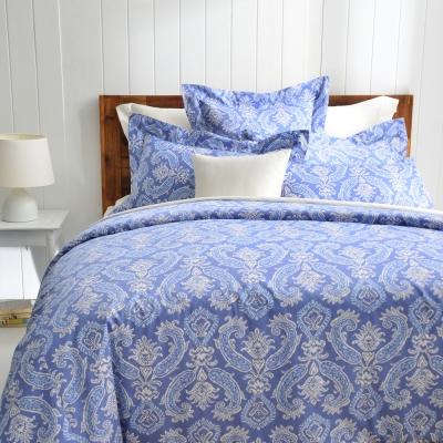 Cozy inn 湛青-深藍 300織精梳棉被套床包組(加大)