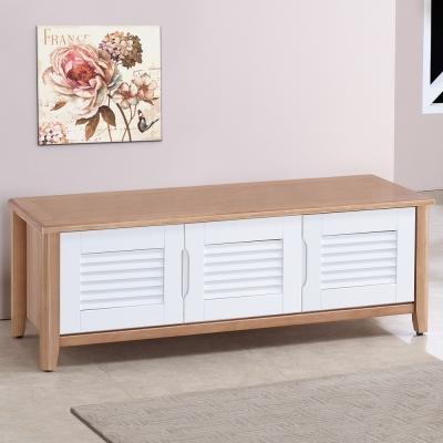 Homelike 米雪4尺百葉坐式鞋櫃-原木雙色--121x43x43cm