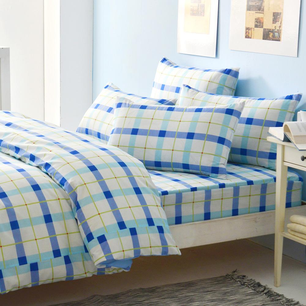 LAMINA 經典格紋-藍 二件式床包組(單人)
