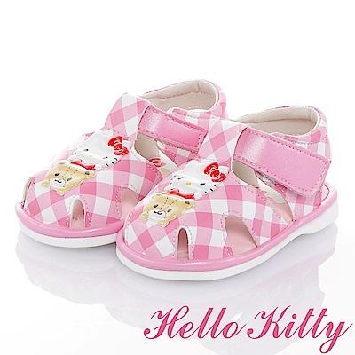 HelloKitty 好朋友系列-格紋減壓輕量嗶嗶學步童鞋-粉